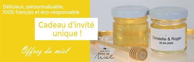 cadeau d'invité personnalisé pour tous vos évènements : offrez du miel 100% butiné et récolté en France