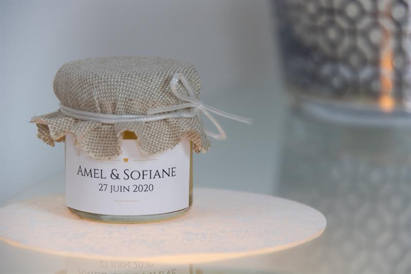 Personnalisez votre cadeau d'invité mariage - couvercle en tissu
