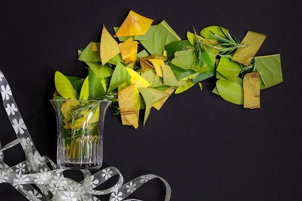 des idées de cadeaux eco friendly pour vos invités d'un mariage eco responsable : fabriquer des confettis en feuilles d'arbre
