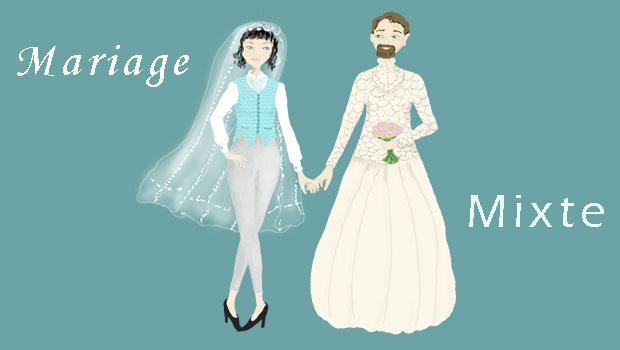 Mariage mixte un homme une femme- illustration