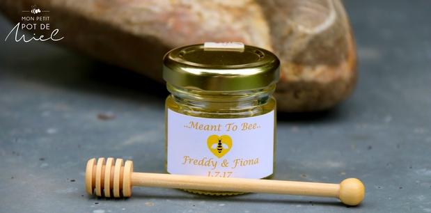 mon petit pot de miel avec une étiquette 'meant to bee'