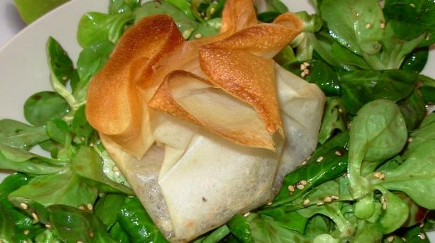 recette aumônières de fromage de chèvre au miel de lavande