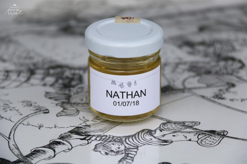 Cadeau d'invite pour fêter un baptême ou une naissance  personnalisable- des petits pots de miel