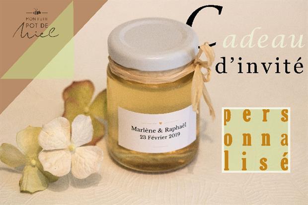 idee cadeau pour vos invités- des petits pots de miel personnalisés