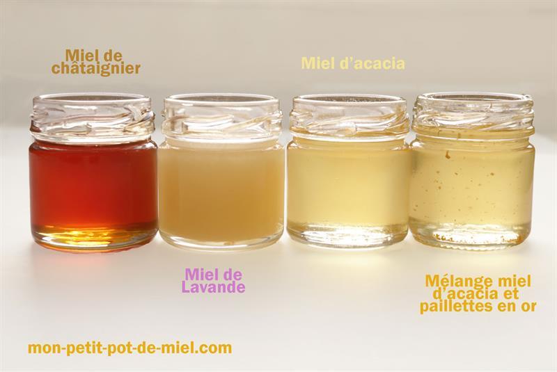 varietes de miel proposées par mon-petit-pot-de-miel.com créateur de cadeau d'invité