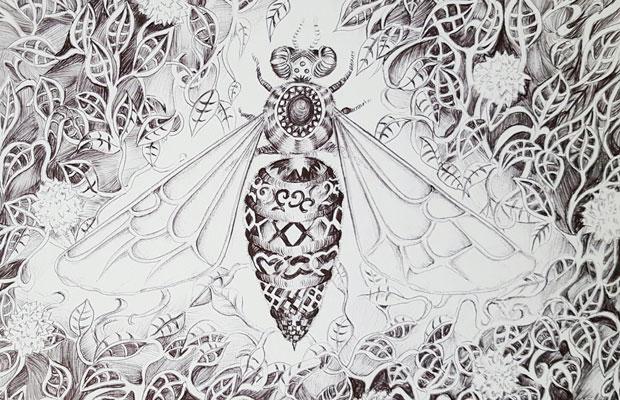 illustration reine des abeilles encre noire - pillustrait