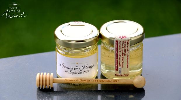 cadeau d'invité à base de miel et de paillettes en or