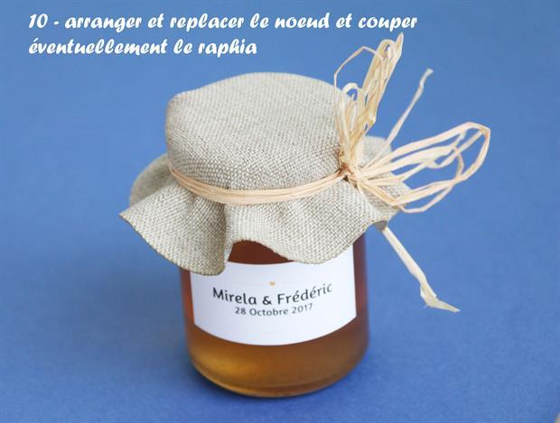 comment mettre le couvercle en tissu de votre cadeau d'invité mon petit pot de miel