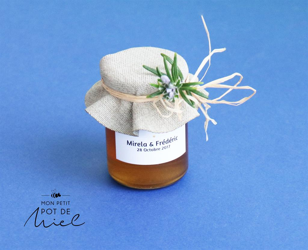 Cadeau d'invite personnalisable avec du miel 100% butiné et récolté en France